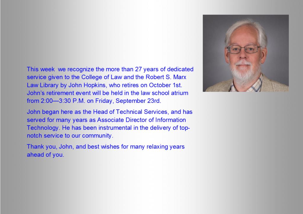 John Hopkins retirement event invitation
