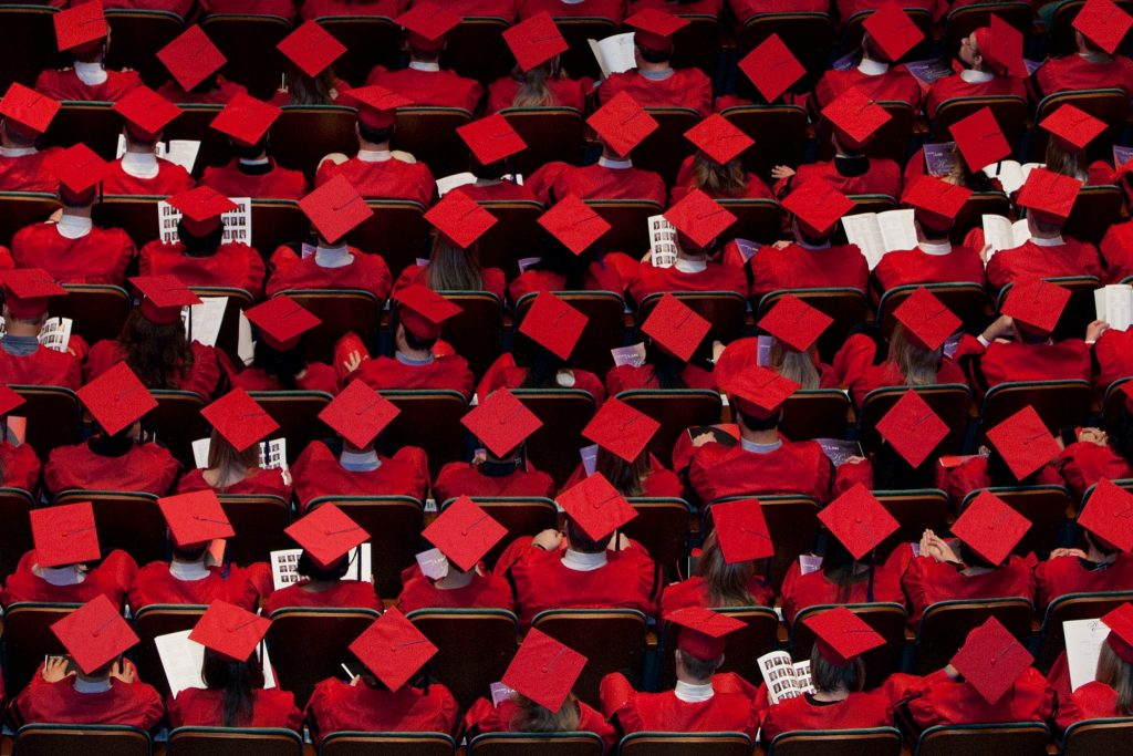 Overhead view of Cincinnatil Law graduation caps